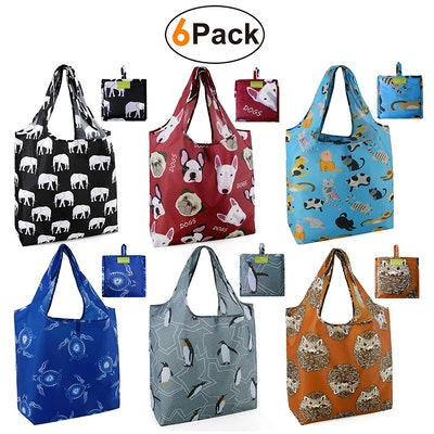 BeeGreen Foldable Reusable Shopping Bags (6-Pack)