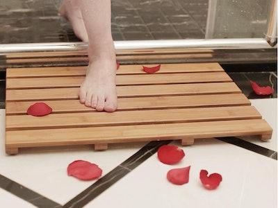 Bamboo Shower Mat Square Bath