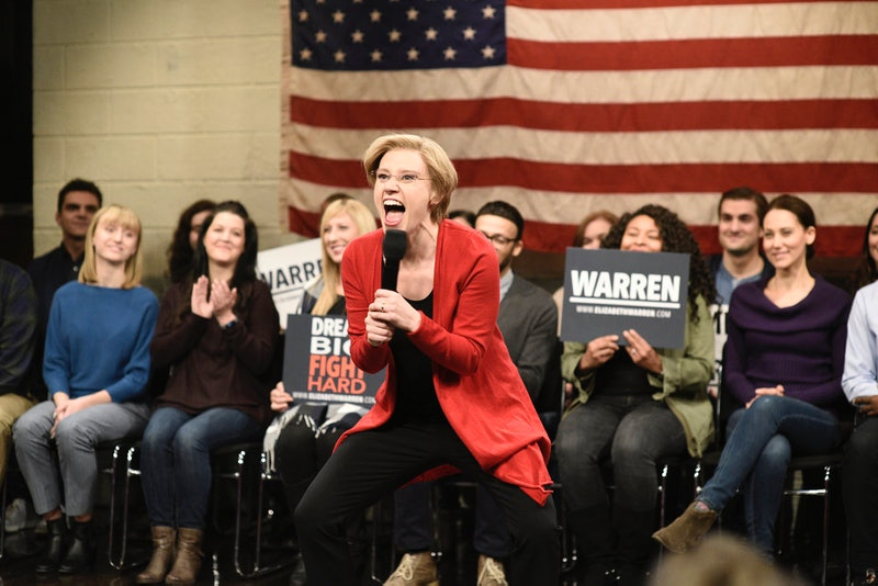 "SATURDAY NIGHT LIVE -- ""Kristen Stewart"" Episode 1772 -- Pictured: Kate McKinnon as Elizabeth Warren during the ""Elizabeth Warren Town Hall"" Cold Open on Saturday, November 2, 2019"