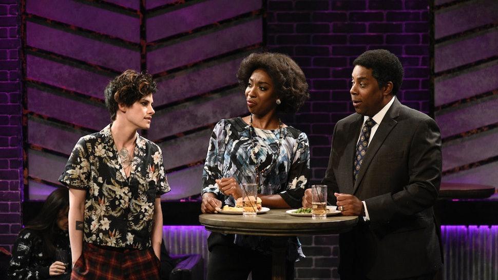 "SATURDAY NIGHT LIVE -- ""Kristen Stewart"" Episode 1772 -- Pictured: (l-r) Host Kristen Stewart, Ego Nwodim, and Kenan Thompson during the ""A Proposition"" sketch on Saturday, November 2, 2019"