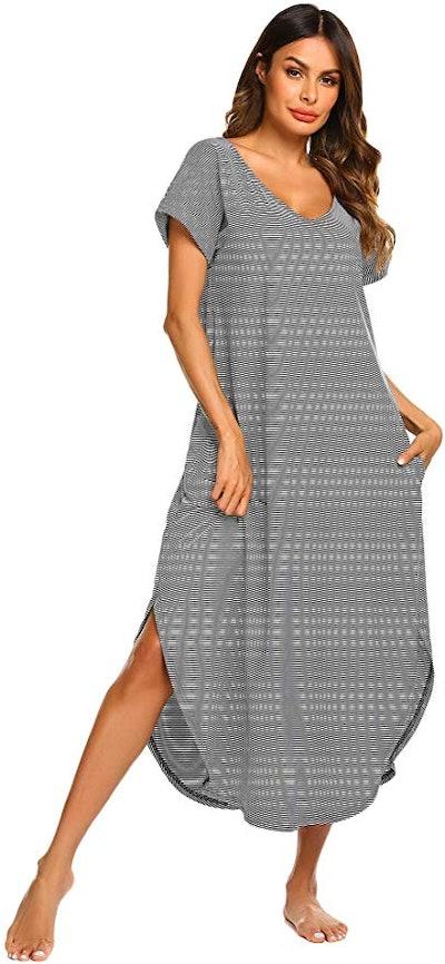 Ekouaer Sleepwear Women's Casual V-Neck Nightgown