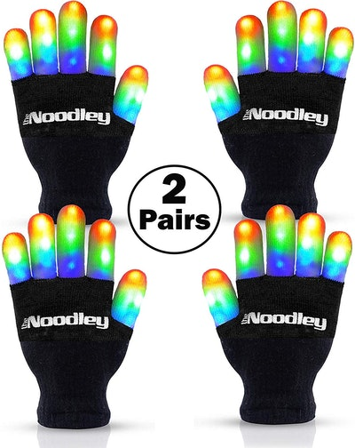 The Noodley Flashing LED Finger Light Gloves (2 Pairs)