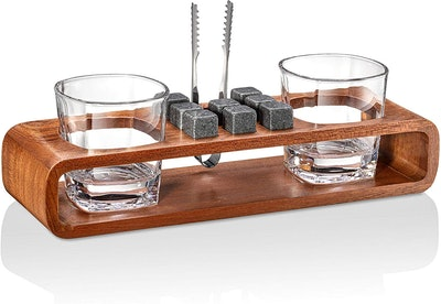 Whiskey Stones Gift Set with Stand