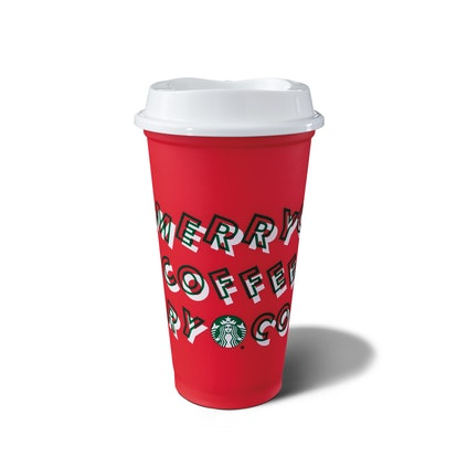 The limited-edition reusable red cup is a Starbucks holiday cup available in stores starting Nov. 7.