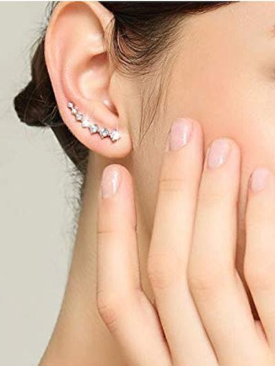 Elensan 7 Crystals Ear Cuffs Hoop Climber