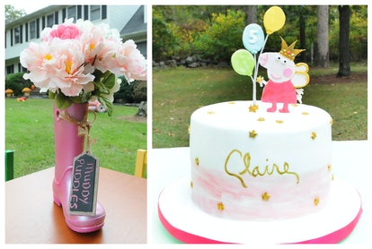 A pink rain boot, and a Peppa Pig cake