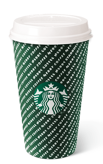 """The """"merry stripes"""" holiday cup at Starbucks."""