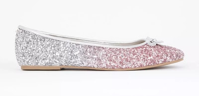 Extra Wide Fit Silver Glitter Ballerina Pumps