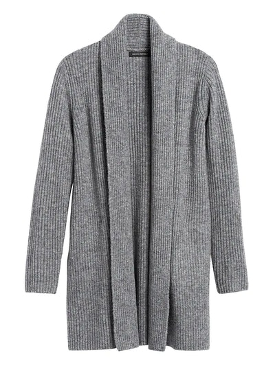Merino-Blend Long Cardigan Sweater