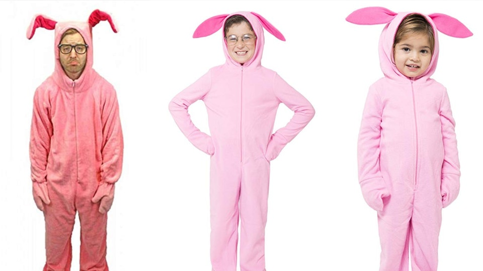 Adults and kids alike can dress like Ralphie from 'A Christmas Story' in pink bunny suits this Christmas.