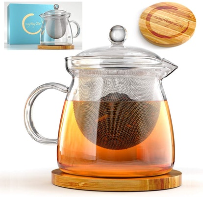 Teapot and Infuser Set with Bamboo Trive