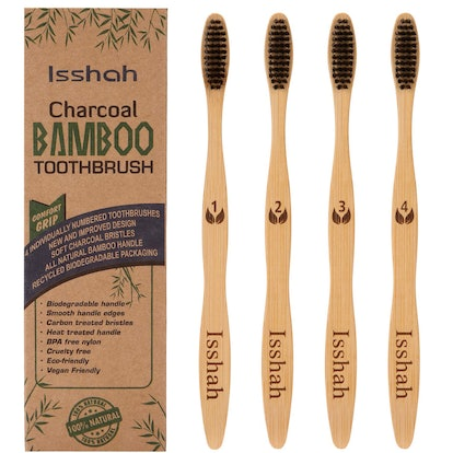 Isshah Activated Charcoal Bamboo Toothbrushes (4-Pack)