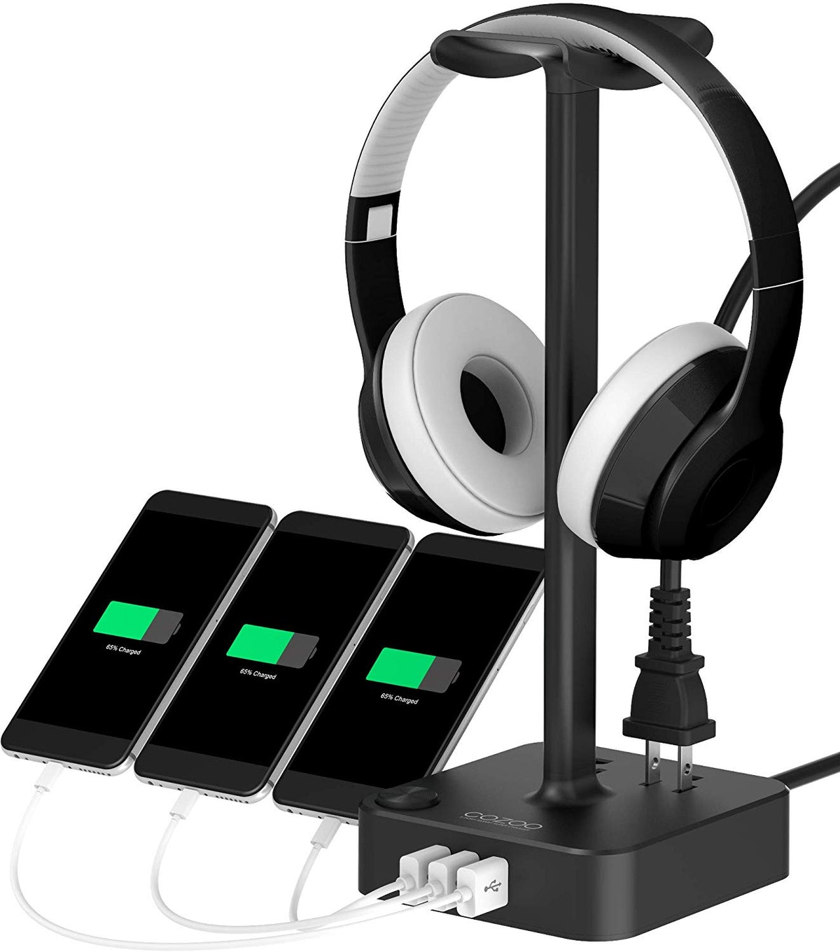Head Phone Stand with USB Charger