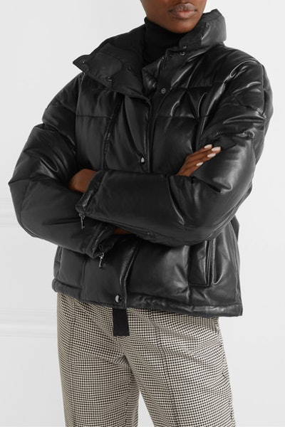 Cropped Quilted Leather Down Jacket