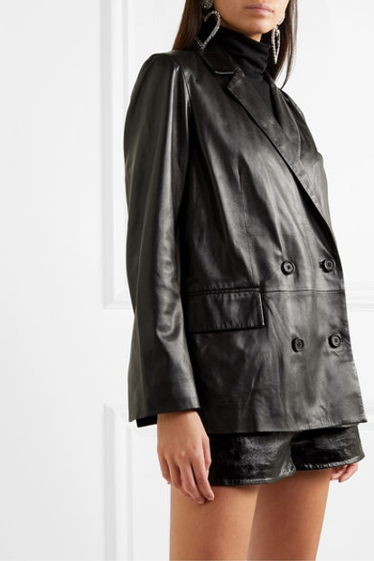 Cassidy Double-Breasted Leather Blazer