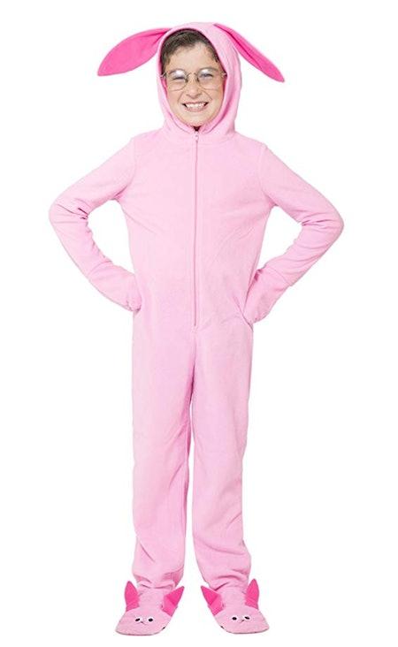 A Christmas Story Kids 'Ralphie Deranged Pink Bunny' Onesie Hooded Pajama