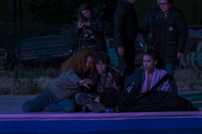 Director Alma Har'el with Noah Jupe and FKA Twigs on the set of HONEY BOY