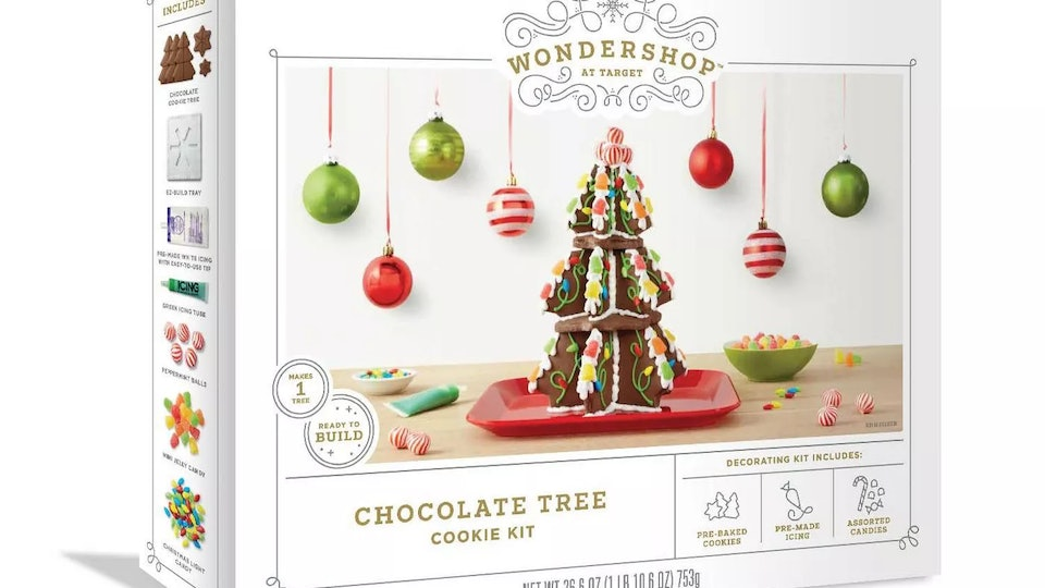 Target's gingerbread cookie tree comes with 18 cookie pieces to create a festive centerpiece.