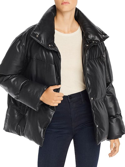 Oversize Faux Leather Puffer Jacket