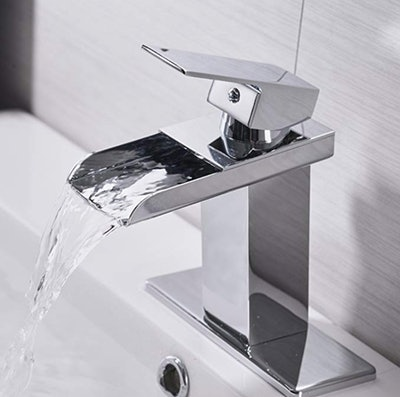 BWE Chrome Waterfall Bathroom Faucet