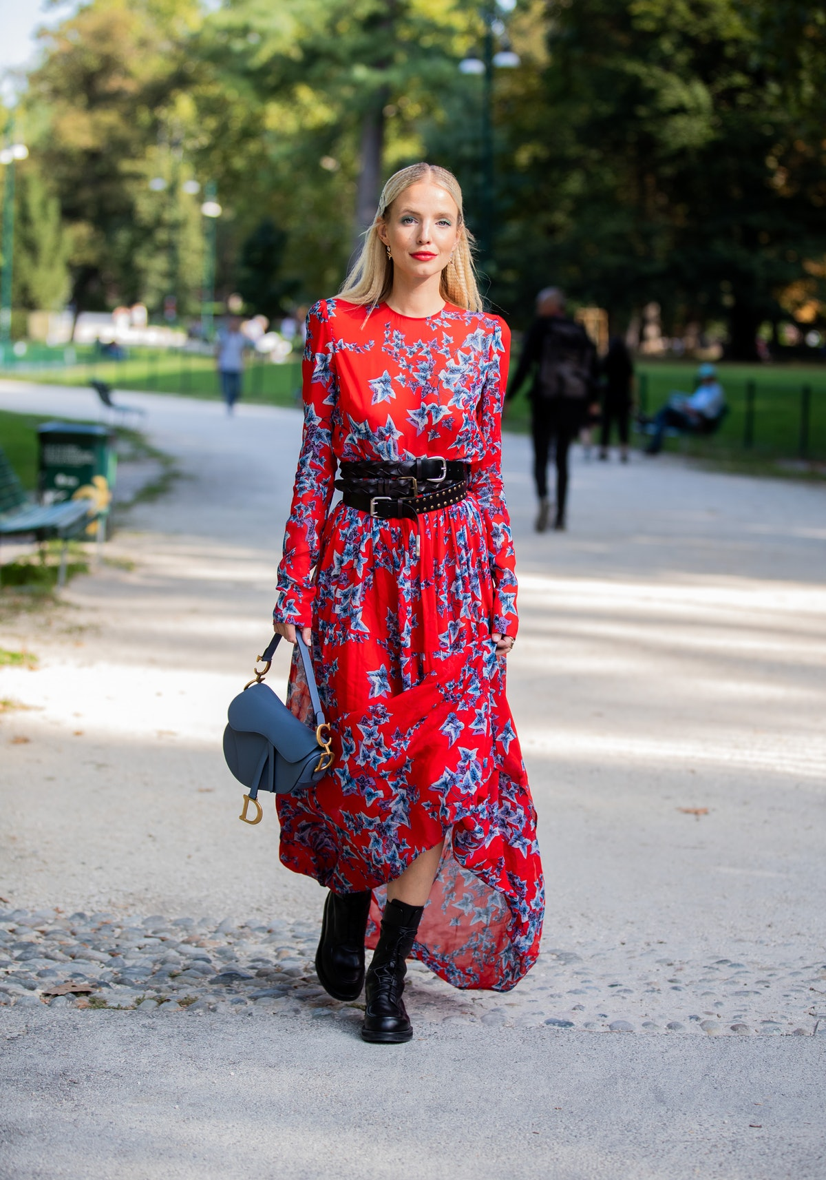Street style photo of influencer Leonie Hanne outside the Philosophy show during Milan Fashion Week ...