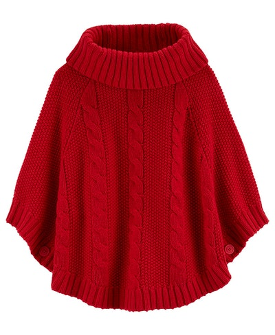 Big and Little Girls Sparkly Cable Knit Poncho