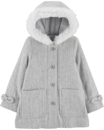 Faux Fur Trim Wool Jacket