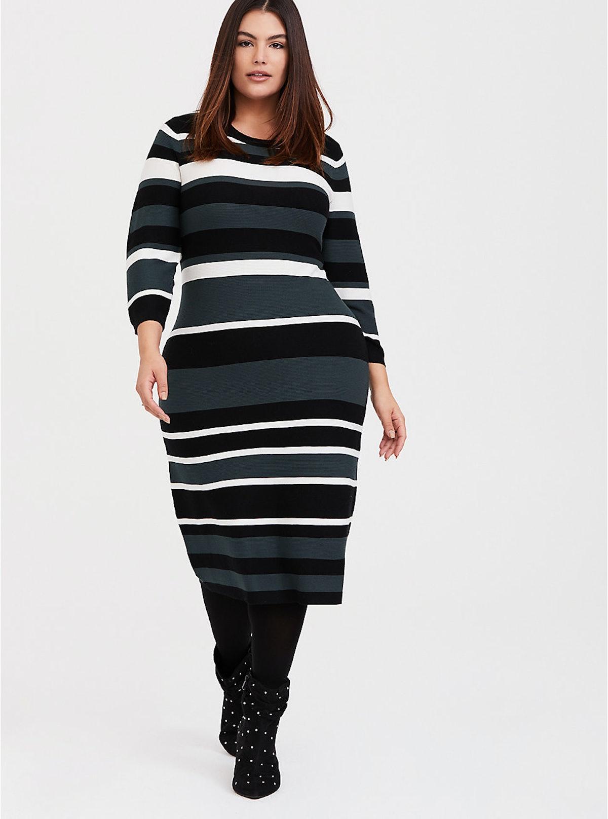 Green Multi Stripe Rib Sweater-Knit Bodycon Dress
