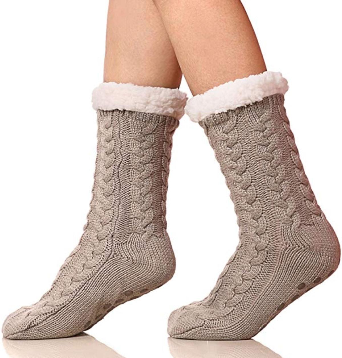 SDBING Women's Fleece-lined  Slipper Socks