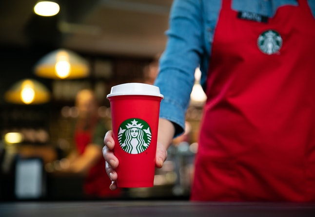 The 2018 Starbucks reusable red holiday cup offered customers discounts on future orders.