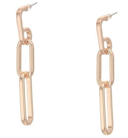 Guess Linear Earrings Women's Rectangular Link Drop Earrings