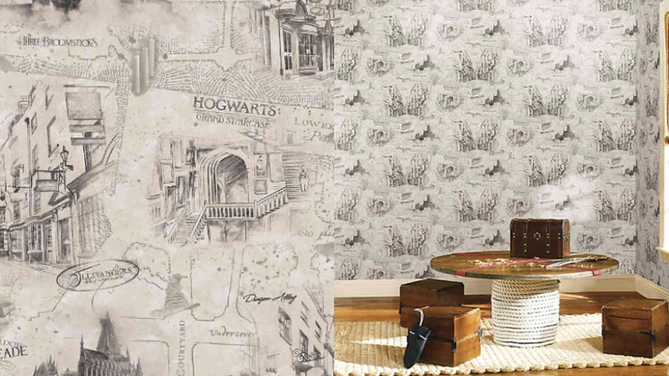 This peel-and-stick Harry Potter wallpaper features maps of Hogsmeade, Hogwarts, & Diagon Alley.