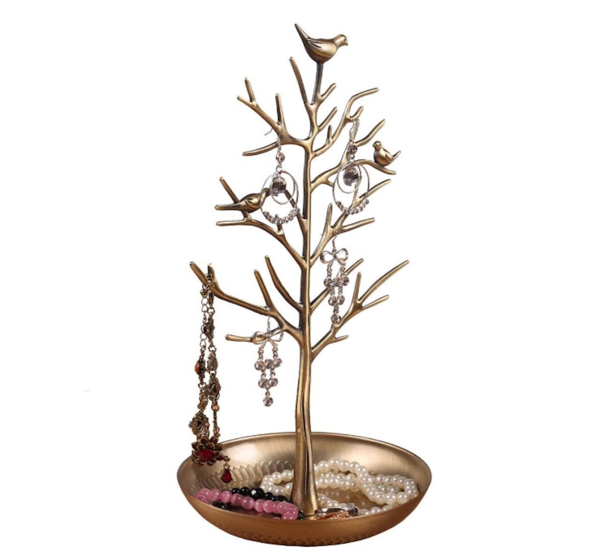 INVIKTUS Silver Birds Tree Jewelry Stand