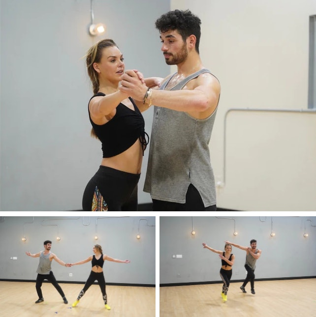 Hannah Brown and Alan Bersten practice the quickstep for week 8 of Dancing with the Stars.