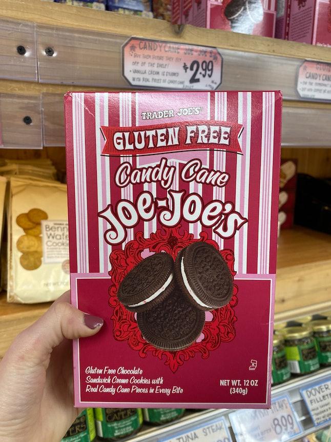 Candy Cane Joe-Joe's have arrived at Trader Joe's.