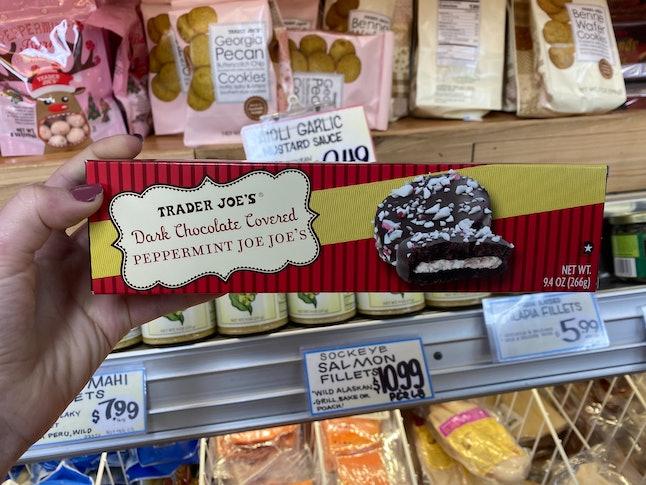 Dark chocolate covered Peppermint Joe-Joe's have arrived at Trader Joe's.
