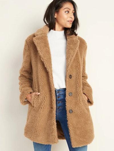 Old Navy Long-Line Sherpa Jacket for Women In Camel