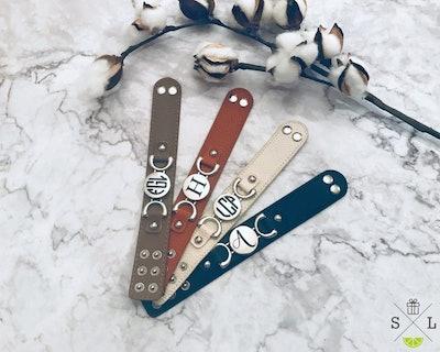Personalized Vegan Leather Cuff Bracelet