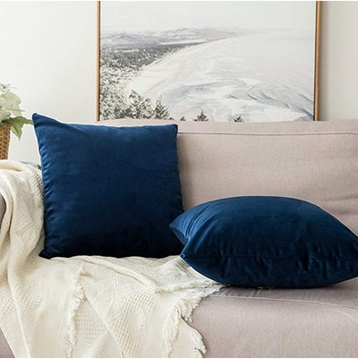 MIULEE, Velvet Square Throw Pillow Covers, 18x18