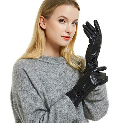 Womens Winter Leather Touchscreen Gloves