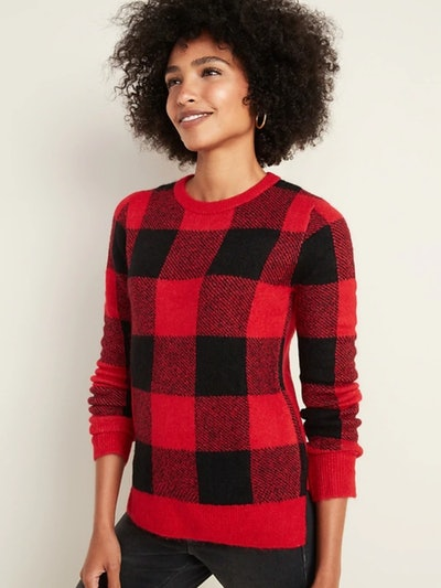 Old Navy Soft-Brushed Crew-Neck Sweater for Women In Red Buffalo Plaid