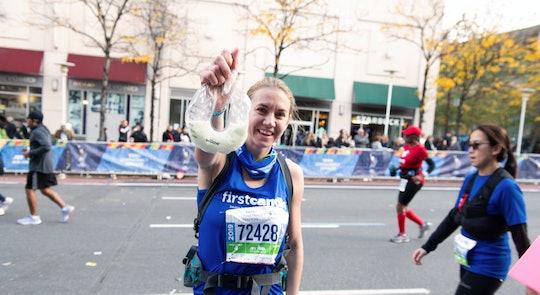 Mom Molly Waitz ran the NYC marathon while breast pumping.