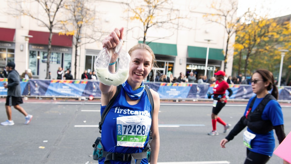 Mom Molly Waitz ran the NYC marathon while breast pumping.