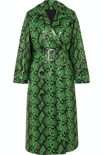 Shelby Snake-Effect Faux Leather Trench Coat