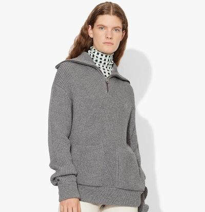 Chunky Rib Half Zip Knit Cardigan