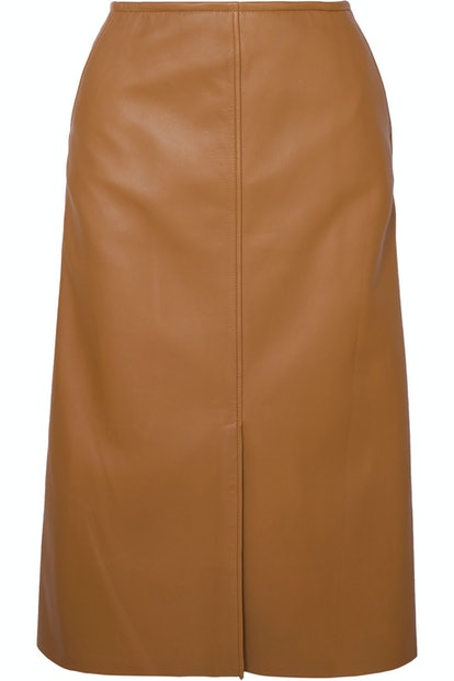 Iden Leather Midi Skirt