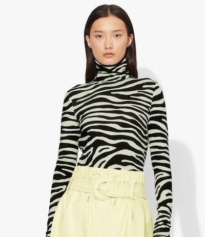 Zebra Print Jersey Long Sleeve Turtleneck
