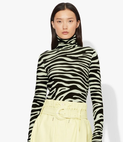 Zebra Print Jersey Long Sleeve Turtleneck