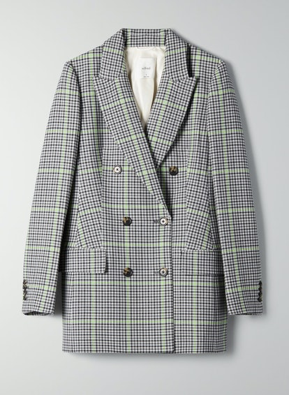 Wilfred Double-Breasted Plaid Margaux Blazer