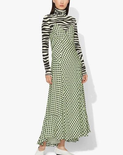 Multicolor Gingham Georgette Slip Dress
